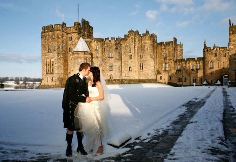 Alnwick castle wedding in the snow