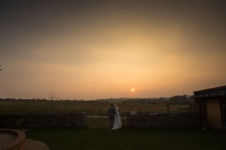 sunset on a wedding at dodford manor