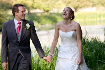 a very smiley and happy bride on her wedding day