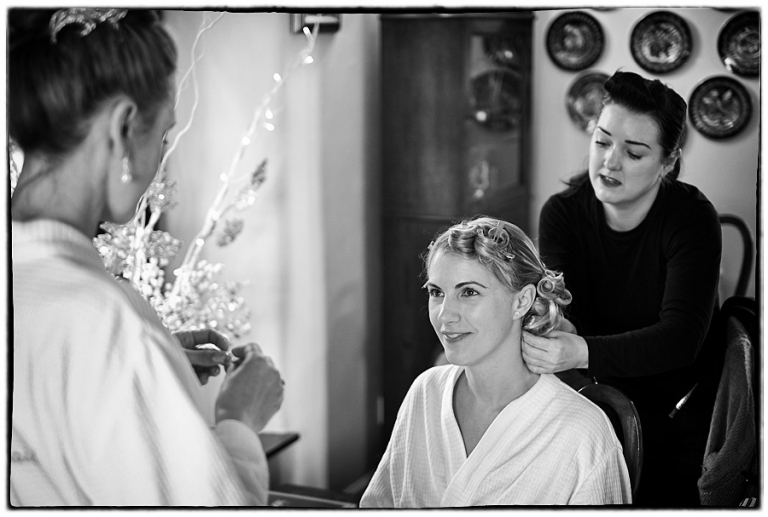 Dodoford Manor wedding photographer, the bride getting ready for her wedding at Dodford Manor.