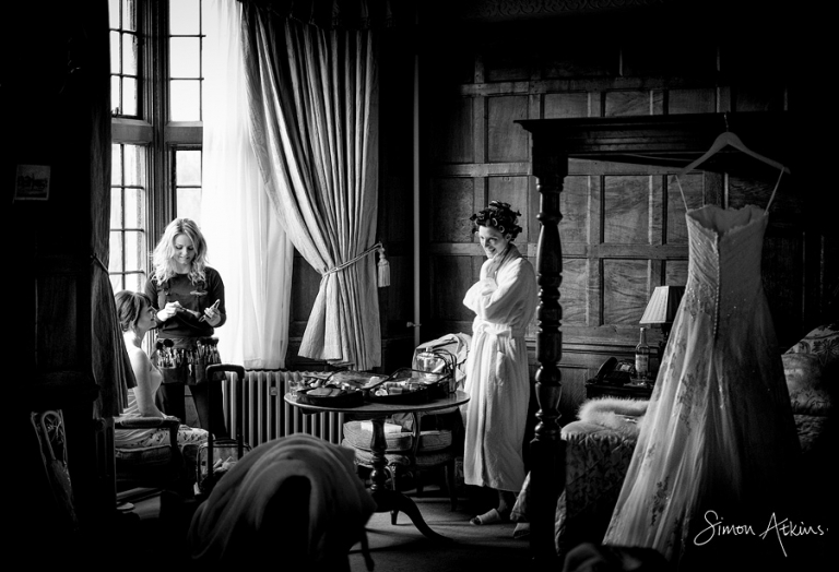 bride getting ready at a rushton hall wedding