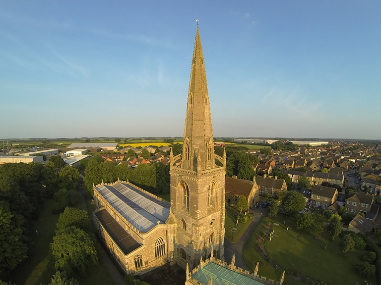 aerial photograph of St Mary's church in Higham Ferrers
