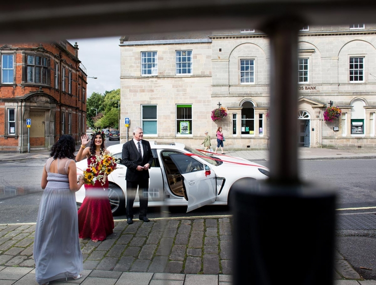 Ashbourne register office wedding, bride arriving
